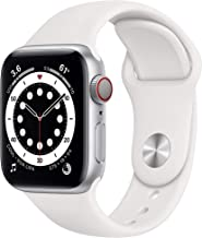 New AppleWatch Series 6 (GPS + Cellular, 40mm) - Silver Aluminum Case with White Sport Band (Renewed)