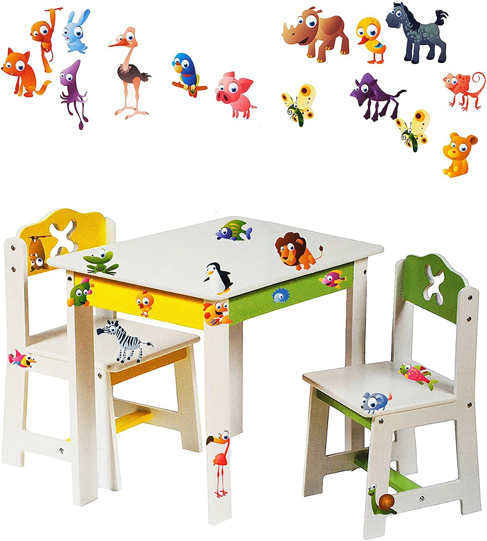 Alles-meine  GmbH 3 TLG. Set  Sitzgruppe für Kinder - aus sehr stabilen Holz - wei -  lustige Zootiere  - Tisch + 2 Stühle   Kindermbel für Jungen & Mdchen - Kindertisch -..