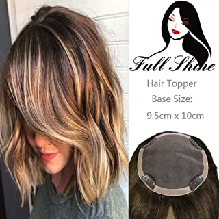 Full Shine Crown Topper Hair Extensions 12inches 45g Ombre Color #3 Fading To #8 And #22 Highlighted Hidden Crown Hair Extension Balayage Human Hair Toppers For Women(9.5x10cm)