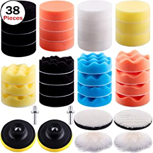 SIQUK 38 Pieces Car Polishing Pad Kit 3 Inch Buffing Pads Foam Polish Pads Polisher Attachment for Drill