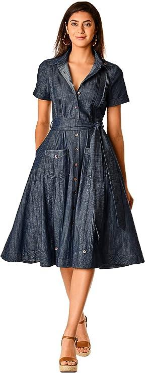 Pin Up Girl Costumes | Pin Up Costumes eShakti FX Pintuck Cotton Chambray Shift Shirtdress- Customizable Neckline Sleeve  AT vintagedancer.com