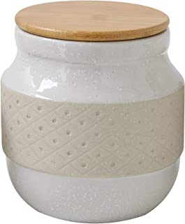 Bloomingville Round Stoneware Canister with Bamboo Lid, Off-White