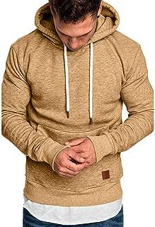 Men's Casual Sweatshirt Hoodies Sloid Long Sleeve Winter Pullover Pocket Workout Lightweight Undershirts Tops WEI MOLO