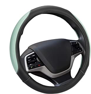 Elantrip Auto Reversible Leather Steering Wheel Cover Mint 14 1/2 to 15 inch for Car