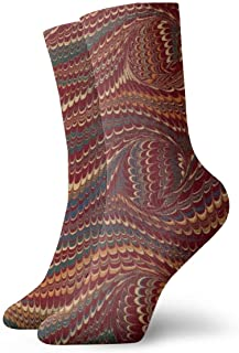 Alu20haoing Men's And Women's Fashion Cool Printed Soft Casual Socks, Multi-color Pattern Novel FUN Breathable And Durable Dress Long Socks For Unisex - Elegant antique marbled paper burgundy and gold