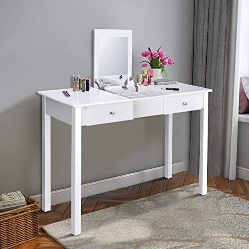 wholesale Giantex Vanity Table with Flip Top Mirror, sale Makeup Dressing Table Writing Desk with 2 Drawers discount and Removable Organizer 9 Compartments, Bedroom Vanity Table for Girls Women, Easy Assembly, White outlet online sale