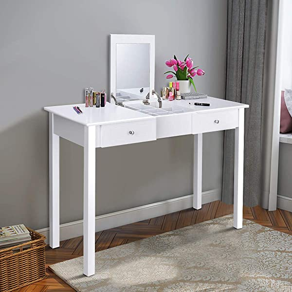 Giantex Vanity Dressing Table With Flip Makeup Mirror Simple Style Multifunctional As Writing Desk With 9 Removable Divider Organizers For Storage Vanity Tables Organizer W 2 Drawers White