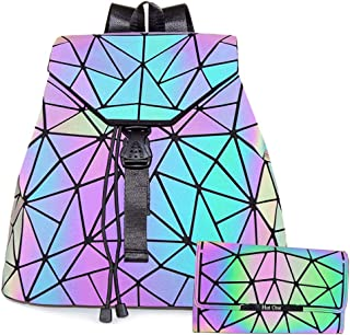 HotOne Geometric Backpack Holographic Reflective Backpacks Fashion Backpack (No.4 + Wallet 1 Set)