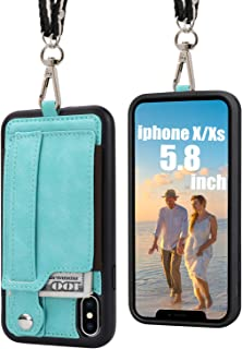 TOOVREN iPhone X Necklace Case Wallet Lanyard Strap, iPhone X/XS TPU Protective Case Cover with Kickstand PU Card Holder Adjustable Detachable iPhone Lanyard for Anti-Theft and Other Activities Aqua