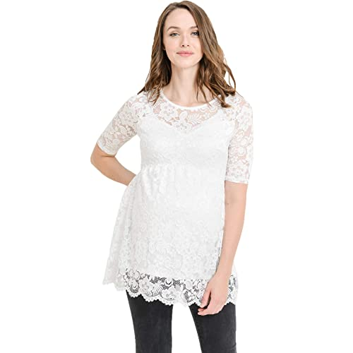 d31000c131e757 Hello MIZ Women s Lace Maternity Blouse Top - Floral