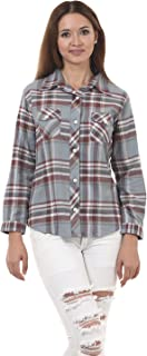 Lady Stark Women's Casual Shirt (LSTOP5256-XXL, Grey and Brown, XX-Large)