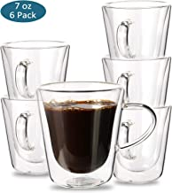 Espresso Cups, YULEER Double Wall Glass Coffee Mugs with Handle - Wall Insulated Glasses Coffee Cups, Cappuccino Cups 7 Ou...