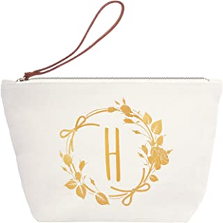 ElegantPark H Initial Monogram Personalized Travel Makeup Cosmetic Bag Wristlet Pouch Gifts with Zipper Canvas