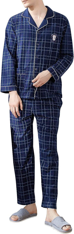 HACAI Men's Pajamas Set Cotton Long Button-Down Pj Set Soft Sleepwear