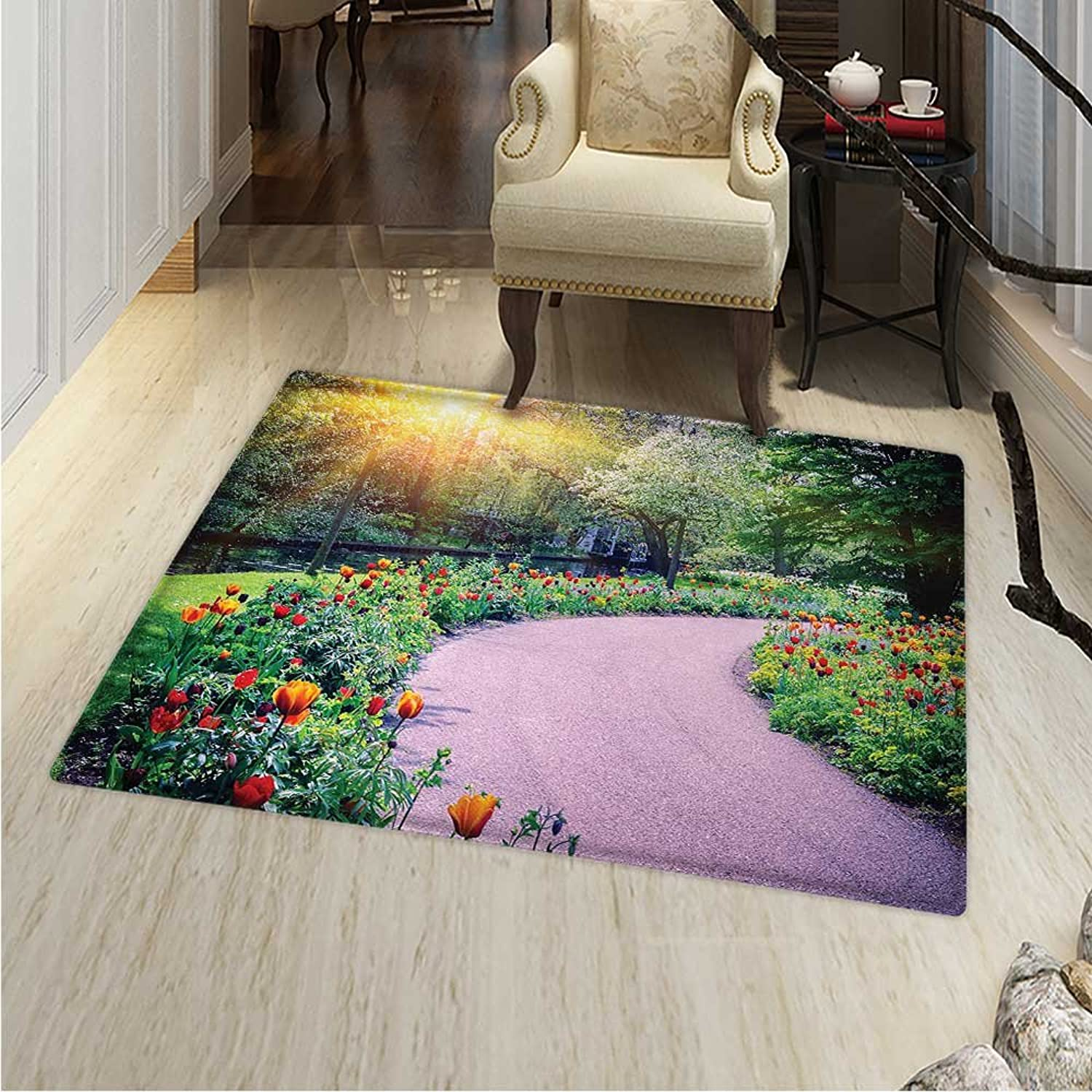 Garden Anti-Skid Area Rug Spring Landscape with colorful Tulips Keukenhof Garden in Netherlands Horticulture Soft Area Rugs 48 x60  Multicolor