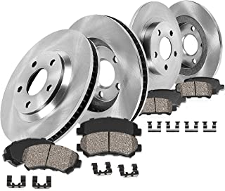 CRK11205 FRONT 274.5 mm + REAR 269 mm Premium OE 5 Lug [4] Rotors + [8] Quiet Low Dust Ceramic Brake Pads + Clips