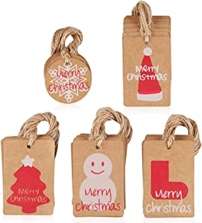 Coogam 50 Pack Brown Kraft Paper Christmas Gift Tags with Twine String Attached Tie on Smooth for Writing - 5 Designs DIY Xmas Holiday Present Wrap Stamp Hang Label Package Name Card Merchandise Tags