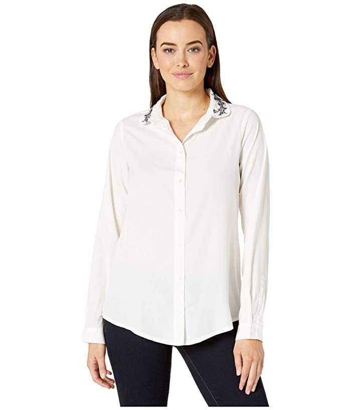 Roper  9388 Polyester Crepe Blouse (White) Womens Clothing