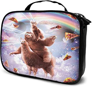 Cosmetic Bag Space Cat Riding Sloth Llama Rainbow Travel Makeup Bag Anti-wrinkle Cosmetic Case Multi-functional Storage Bag Large Capacity Makeup Brush Bags Travel Kit Organizer Women's Travel Bags