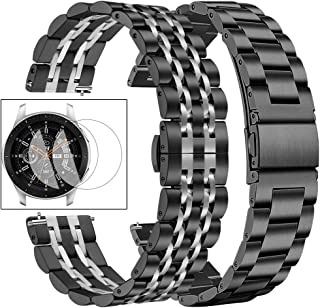 Dsytom Compatible with Galaxy Watch 46mm / Gear S3 Bands Men XL Large,2 Pack Solid Metal Strap Replacement with Samsung Gear S3 Classic/Frontier Smart Watch with Screen Protector(Black/Silver+Black)