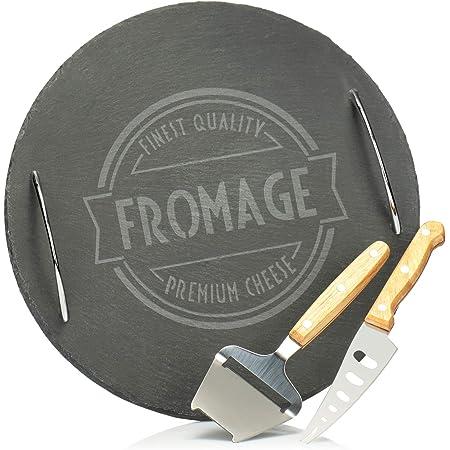 Plateau à Fromage Rectangulaire Ardoise 2 Couteaux Craie