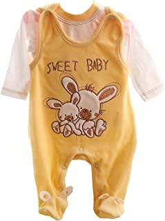 Malgosia - A&O Baby Samt Strampler Set 56 62 68 74 Nicki Stramplerhose & Shirt Creme/Hase