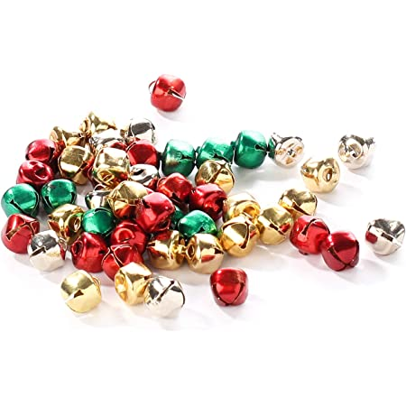 as described 100pcs 12mm Jingle Bells Charm Christmas Musical Pendant Assorted Colours Sizes DIY Jewelry