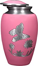 Alpha Living Home Cremation Urn for Ashes - Adorned with Butterfly's Adult Funeral Urn Handcrafted - Affordable Urn for Ashes - Large Funeral Memorial with Elegant Finish for Cemetery Burial - Pink