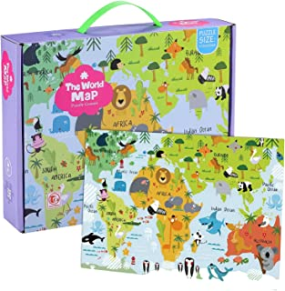 World Map Jumbo Jigsaw Puzzles for Kids | Ages 4+ 180 PCs Toddler Floor Puzzles | Great Gift Idea keeps Kids Busy! | Creat...