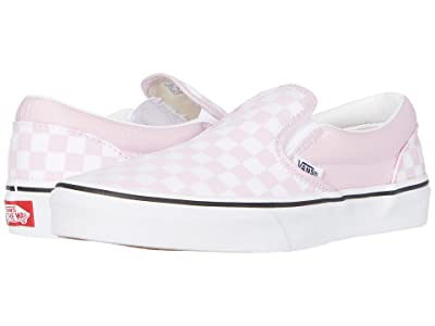 Vans Kids Classic Slip-On (Big Kid) ((Checkerboard) Lilac Snow/True White) Girls Shoes