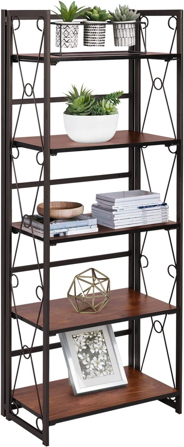 VECELO Kansas City Mall 5 Shelf Bookcase Industrial El Paso Mall Folding-Bookshelf No-Assembly