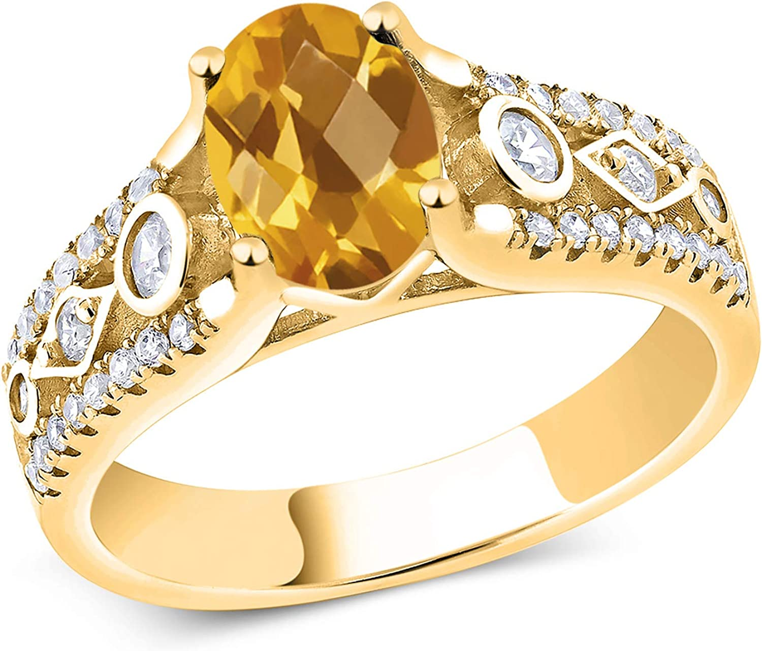 Gem Stone Manufacturer OFFicial shop King 1.81 Ct Oval Checkerboard Max 75% OFF Yell Citrine 18K Yellow