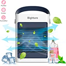 Air Conditioner Fan,USB Portable Air Cooler Small Desktop Cooling Fan Humidifier Purifier Noiseless Evaporative Air Humidifier for Room Office Desktop Nightstand (Not Include Battery)