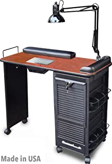 B605 VENTED Manicure Nail Table Station Lockable w/Cherry Lam. Top Made in USA By Dina Meri
