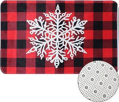Wusteg Floor Mat Buffalo Plaid Carpet Floor Non Slip Absorbent Welcome Doormat Christmas Valentines Low-Profile Floor Mat for Indoor Outdoor Home Garden