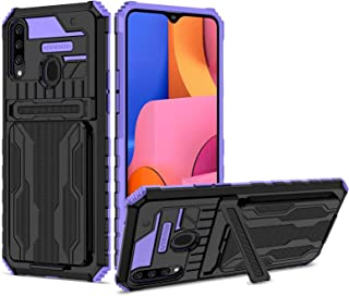 Lijc Kompatibel med Samsung Galaxy A20s Fodral [Skärmskydd] med Kickstand Avtagbar Korthållare Omslag Mjuk Silikon TPU + H...
