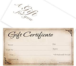 Blank Gift Certificates 25set - Rustic - Comes with Free matching Envelopes - Small Business, Spa, Makeup,Hair Beauty Salon,Restaurant,Wedding Bridal,Baby Shower,Holiday,Christmas,Birthday