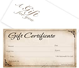 Blank Gift Certificates 25set gift certificate for business Gift-Blossoms-PP Comes with Free matching Envelopes Makeup,Hair Beauty Salon,Restaurant Sequential Numbering Printing-Spa,Eyelash
