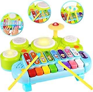 3 in 1 Toddler Drum Set Piano Keyboard Xylophone Toys Musical Instrument Learning Developmental Light Up Toys for Kids Bab...