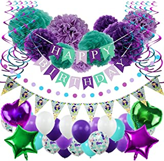 "YINVA Mermaid Party Supplies Birthday Party Supplies for Girls 65 Pack Including ""Happy Birthday"" Banner Foil Balloons Paper Pom Poms Confetti Balloon for Kid's Baby Shower Party Decorations"
