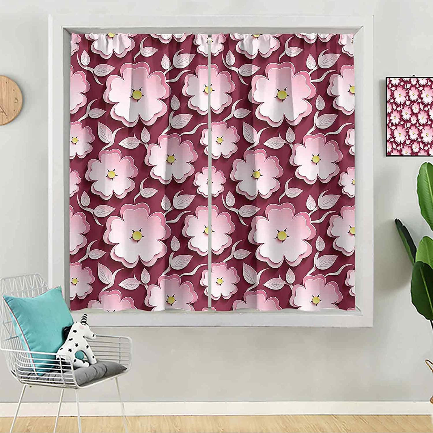 Curtains for Cheap super special price Bedroom Trendy Max 61% OFF Background Romantic Seamless Maroon