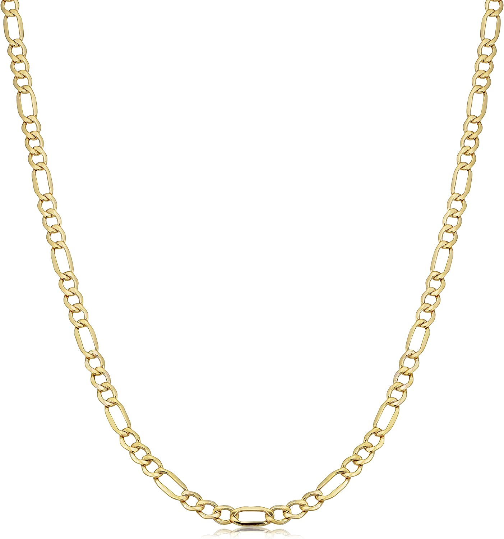 Kooljewelry 10k Yellow Gold 3.5 mm Figaro Link Chain Necklace Nekclace (18, 20, 24, 30 or 36 inch)