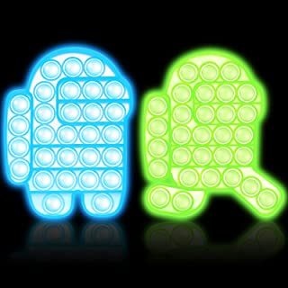 Pop Fidget Sensory Toy, Popit Bubble Fidgets 2 Pack, Push Popping Popper Cheap Silicone Stress Anxiety Relief Squeeze Toys Glow In the Dark Among Us for Kids, Adults, Special Needs, Autism, ADHD, Game