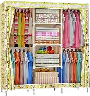 daily supplies Armoire Pratique Armoire de Rangement pour Vêtements,Armoire Pliante Non Tissée Porte-vêtements avec 4 Trin...