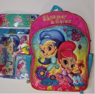 "16"" Girls Pink School Backpack Shimmer & Shine +11 Piece Matching Bonus"
