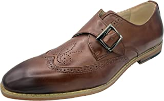 Sponsored Ad - KARAKO Suits Monk Strap Brown Leather Oxfords: Wingtip Shoes Men, Monk Strap Dress Shoes for Men, Wing Tipp...
