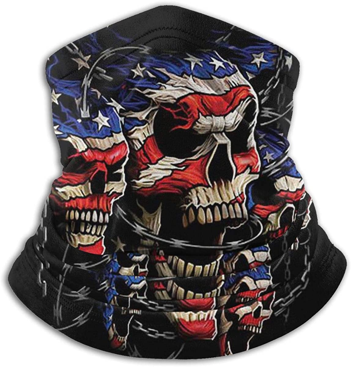 CLERO& Scarf Fleece Neck Warmer USA Skulls American Flag Patriotic Skull Windproof Outdoor Headwear Comfortable Neck Gaiter Warmer Face Mask for Cold Weather Winter Outdoor Sports
