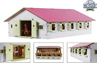 Kids Globe Farming Reiterhof 1:32, gospodarstwo rolne z 9 pojemnikami na konie, domek dla koni z drewna, ze składanym dach...