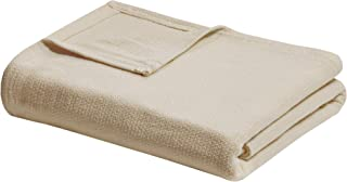 Madison Park Freshspun Basketweave Luxury Cotton Blanket Natural 90x90 Full/Queen Size Basketweave Premium Soft Cozy 100% Cotton For Bed, Couch or Sofa