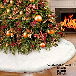 iMucci 30inch Chirstmas Tree Skirt Snowy White Plush Velvet - Holiday Party Decoration